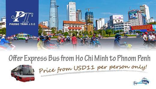 Phuong Trinh Bus from Ho Chi Minh to Phnom Penh