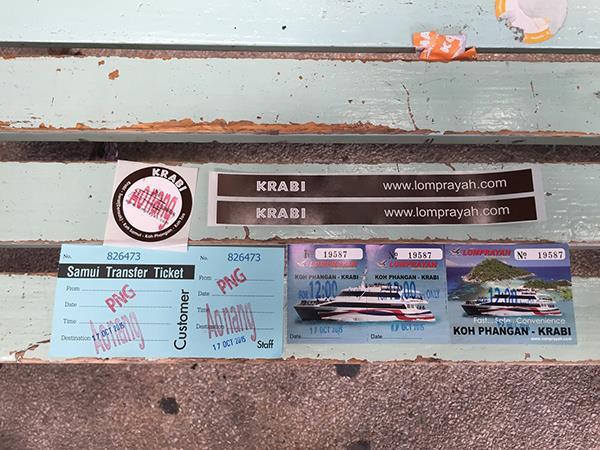 Lomprayah Ferry Ticket and Black Sticker